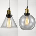 One Light Cone/Orb Hanging Light Simple Style Clear Glass Pendant Light for Restaurant Hallway