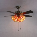 3 Heads Sunflower Ceiling Fan with 4 Blade Metal Remote Control Semi Ceiling Lamp for Living Room