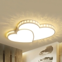 Living Room Heart Ceiling Light Acrylic Modern Warm/White Lighting LED Flush Light with Clear Crystal