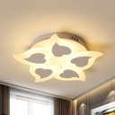 Contemporary Heart LED Flush Light Heart Metal Ceiling Lamp with Warm/White Lighting for Child Bedroom