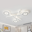 Contemporary Stacked LED Semi Flush Light Metal White Ceiling Lamp in Neutral/White/Yellow for Teen
