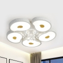 3/5 Heads Petal LED Flush Light with Crystal Modern Metal Stepless Dimming/Third Gear Ceiling Lamp for Living Room