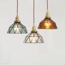 Cafe Hotel Diamond Pendant Light Amber/Blue/Clear Glass Hanging Light 1 Light Asian Style Hanging Light