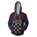 Torgue Checkerboard Comic Cosplay Costume Long Sleeve Blue Zip Up Hoodie
