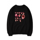 Ahegao Comic Tongue Pattern Round Neck Long Sleeve Casual Loose Unisex Pullover Sweatshirt