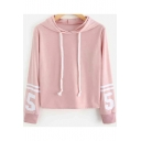 New Fashion Simple Stripe Number 5 Long Sleeve Loose Casual Pullover Hoodie