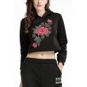 Chic Floral Embroidery Long Sleeve Loose Sport Crop Hoodie