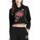 Chic Floral Embroidery Long Sleeve Loose Sport Crop Hoodie