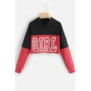 Simple Letter GIRL Color Block Long Sleeve Cropped Pullover Red Hoodie