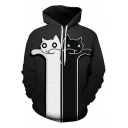Funny Cute Cartoon Black and White Cat Pattern Casual Loose Unisex Hoodie