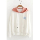 Cute Cloud Letter LOVE Embroidery Long Sleeve White Casual Hoodie