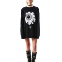 Fashion Big Eye Printed Round Neck Long Sleeve Black Casual Loose Tunic Sweatshirt