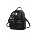 Designer Personalized Butterfly Embroidery Pattern Metal Lipstick Letter Embellishment Soft Leather Casual Backpack 23*14*26 CM