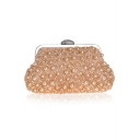 Stylish Solid Color Ruffled Pearl Embellishment Evening Clutch Bag 23.5*4.5*13.5 CM