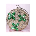 Luxury Green Crystal Embellishment Floral Pattern Gold Round Clutch Handbag 18*18 CM