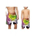 Summer Cool Wave Star Pattern Drawstring Waist Holiday Parent-Child Beach Swim Shorts