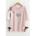 Funny Fox Letter DO NOT LOOK AT ME I'M SHY Print Bow-Tied Side Round Neck Pink T-Shirt