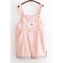 Girls Cute Bear Embroidery Striped Rolled Cuff Rompers Overall Shorts