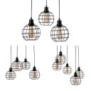 Black Finish Spherical Cage Pendant Light 3/4/5 Light Antique Stylish Metal Hanging Light for Restaurant
