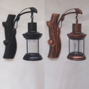 Industrial Kerosene Wall Light Single Light Glass & Metal Wall Lamp in Black/Copper for Study Room
