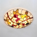 Multi-Color Fruit Flush Mount Light 4 Lights Rustic Stylish Glass Ceiling Lamp for Restaurant