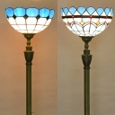 Stained Glass Bowl Floor Light Study Room Bedroom One Head Tiffany Stylish Floor Light