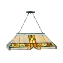 Six Lights Geometric Island Light Tiffany Traditional Stained Glass Island Lamp in Beige for Dining Room