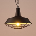 Barn Garage Factory Pendant Light with Cage Aluminum 1 Head Antique Style Hanging Lamp in Black Finish