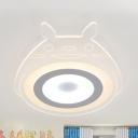 Cartoon Cat LED Flush Ceiling Light Acrylic White Ceiling Fixture with Warm Lighting/White Lighting for Teen