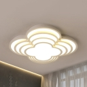 Lovely White LED Flush Ceiling Light Petal Acrylic Third Gear/White Lighting Ceiling Lamp for Girls Bedroom