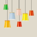 One Light Bucket Hanging Light Nordic Style Aluminum Macaron Colored Pendant Light for Restaurant