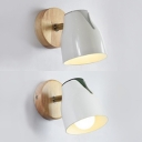 Rotatable Nordic Green/White Sconce Light Bowl Shade One Light Wood LED Wall Lamp for Bedroom