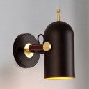 1 Light Cup Shape Wall Light Modern Metal Sconce Light in Black for Dining Room Bedroom