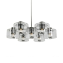 Simple Style Chrome Chandelier Drum Shape Seven Lights Clear Glass Pendant Light for Living Room