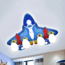 Blue Airplane Flush Ceiling Light Cartoon Metal Eye-Caring Ceiling Lamp for Boys Bedroom
