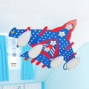 American Style Airplane Flushmount Light Frosted Glass LED Ceiling Lamp in Blue for Kid Bedroom