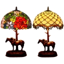 Tiffany Creative Table Light Bead/Rose 1 Light Stained Glass Resin Desk Light with Horse for Cafe