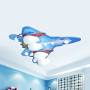 Plane Shape Kindergarten Ceiling Lamp Wood Multi Lights Contemporary LED Flush Ceiling Light in Blue