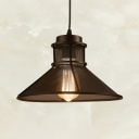 Vintage Hollow Funnel Shape Pendant Light 1 Light Metal Suspension Light in Black for Restaurant