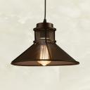 Vintage Hollow Funnel Shape Pendant Light 1 Light Metal Suspension Light in Black for Restaurant