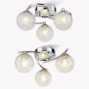 Chrome Twist Arm Semi Flush Mount Light with Orb Shade 3 Heads Contemporary Glass Ceiling Light for Bedroom