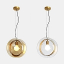 Amber/Clear Glass Drum Ceiling Pendant Child Bedroom 1 Light Modern Stylish Hanging Light