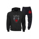 Cool Fire and Blood Dragon Pattern Casual Loose Hoodie with Sweatpants Two-Piece Set