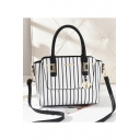 Trendy Stripe Print Metal Embellishment Shoulder Satchel Handbag 28*14*22 CM