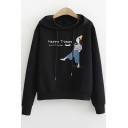 HAPPY TIMES Comic Figure Printed Long Sleeve Casual Loose Pullover Hoodie