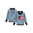 Memorial Day Flag Eagle Pattern Patched Long Sleeve Button Front Hooded Denim Jacket