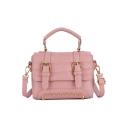 Stylish Solid Color Belt Buckle Rivet Embellishment Shoulder Bag School Satchel Handbag 19*9*15 CM