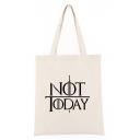 Popular Letter NOT TODAY Printed Canvas Shoulder Bag 30*40*12 CM