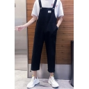 Trendy Simple Solid Color Casual Loose Straight Fit Unisex Cropped Pants Bib Overalls