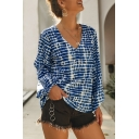Summer Womens Fashion Pattern V-Neck Lantern Long Sleeve Relaxed Blouse Top